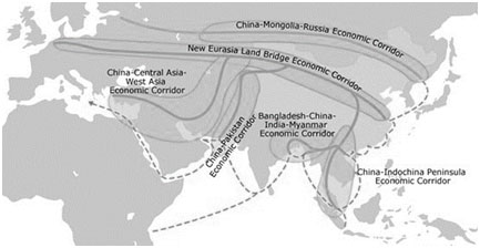 Chinas Belt and Road Initiative Showing Six Economic Corridors